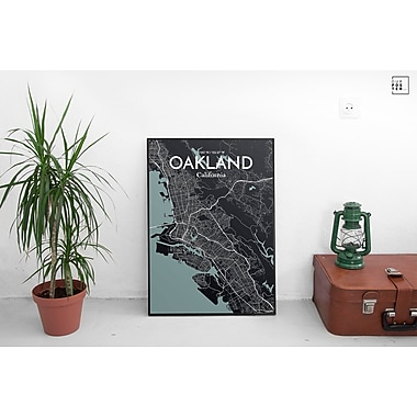 OurPoster.com 'Oakland City Map' Graphic Art Print Poster in Midnight; 27.56'' H x 19.69'' W