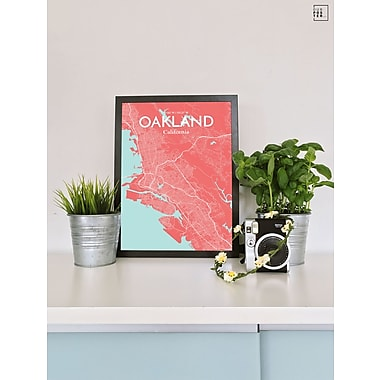 OurPoster.com 'Oakland City Map' Graphic Art Print Poster in Maritime; 20'' H x 16'' W