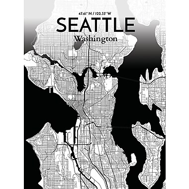 OurPoster.com 'Seattle City Map' Graphic Art Print Poster in Ink; 17'' H x 11'' W
