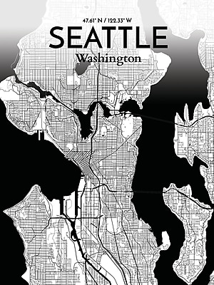 OurPoster.com 'Seattle City Map' Graphic Art Print Poster in Ink; 24'' H x 18'' W