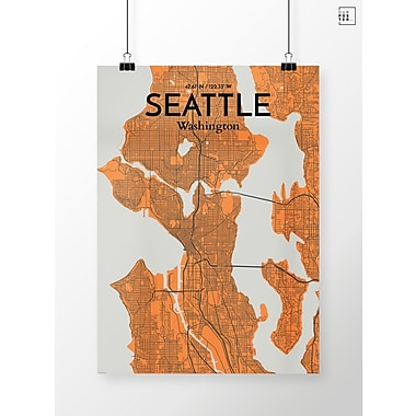 OurPoster.com 'Seattle City Map' Graphic Art Print Poster in Gray/Orange; 36'' H x 24'' W