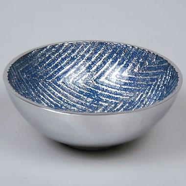 Orren Ellis Jamaris Chevron Decorative Bowl; Blue