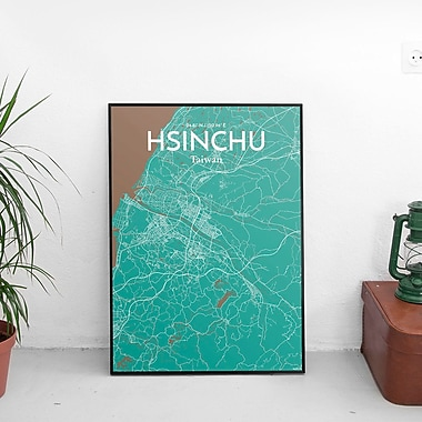 OurPoster.com 'Hsinchu City Map' Graphic Art Print Poster in Nature; 36'' H x 24'' W