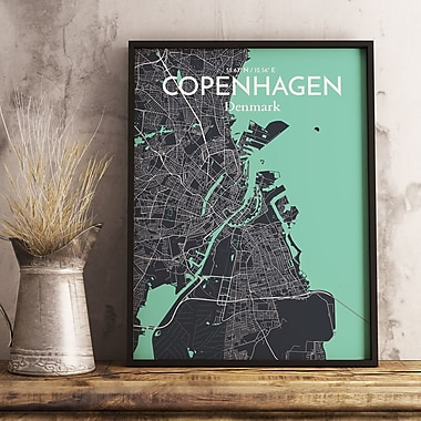 OurPoster.com 'Copenhagen City Map' Graphic Art Print Poster in Dream; 27.56'' H x 19.69'' W