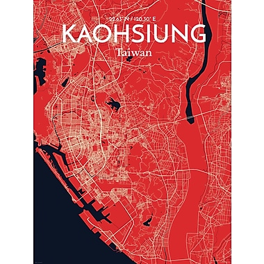 OurPoster.com 'Kaohsiung City Map' Graphic Art Print Poster in Nautical; 27.56'' H x 19.69'' W