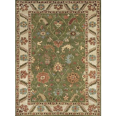 Darby Home Co Ashtown Harding Green / Ivory Area Rug; 6'7'' x 9'6''