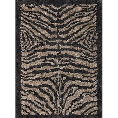 Bloomsbury Market Vanetta Wool Black / Gray Area Rug; Round 7'9''