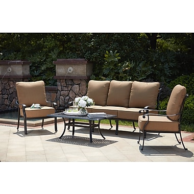 Astoria Grand Melchior 4 Piece Deep Seating Group w/ Cushions
