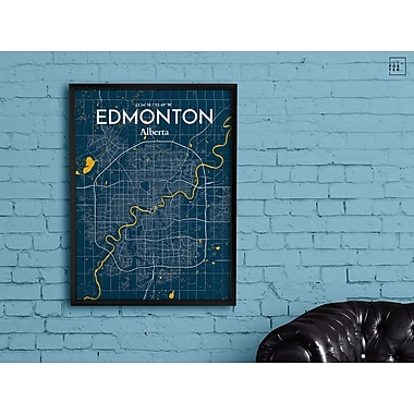 OurPoster.com 'Edmonton City Map' Graphic Art Print Poster in Amuse; 27.56'' H x 19.69'' W