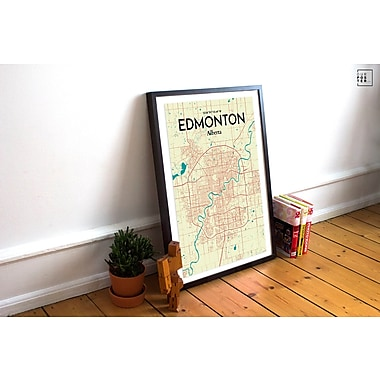 OurPoster.com 'Edmonton City Map' Graphic Art Print Poster in Tricolor; 17'' H x 11'' W