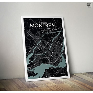 OurPoster.com 'Montreal City Map' Graphic Art Print Poster in Midnight; 20'' H x 16'' W