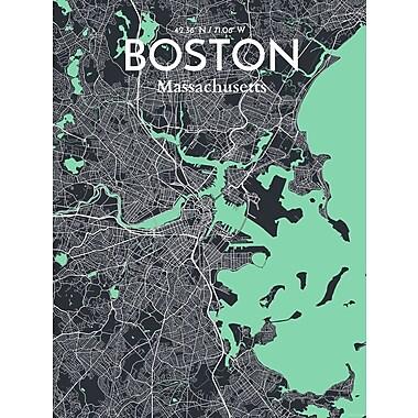 OurPoster.com 'Boston City Map' Graphic Art Print Poster in Dream; 17'' H x 11'' W