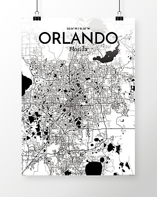 OurPoster.com 'Orlando City Map' Graphic Art Print Poster in Ink; 20'' H x 16'' W