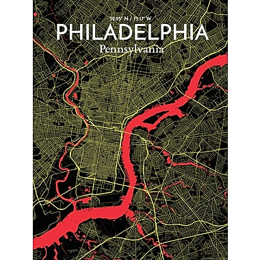 OurPoster.com 'Philadelphia City Map' Graphic Art Print Poster in Contrast; 27.56'' H x 19.69'' W