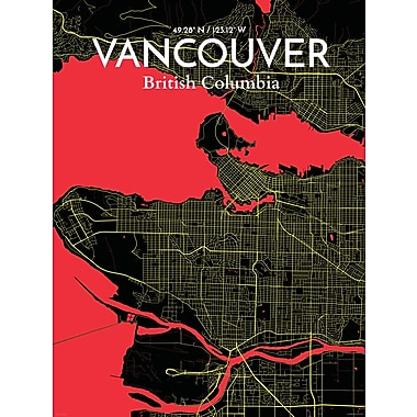 OurPoster.com 'Vancouver City Map' Graphic Art Print Poster in Contrast; 24'' H x 18'' W