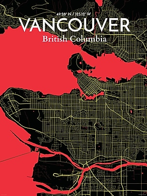 OurPoster.com 'Vancouver City Map' Graphic Art Print Poster in Contrast; 17'' H x 11'' W