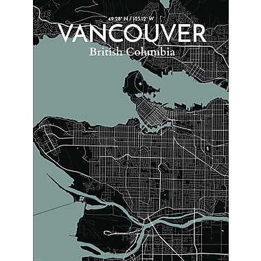 OurPoster.com 'Vancouver City Map' Graphic Art Print Poster in Midnight; 20'' H x 16'' W