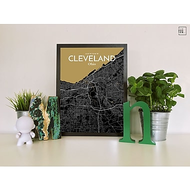 OurPoster.com 'Cleveland City Map' Graphic Art Print Poster in Luxe; 36'' H x 24'' W