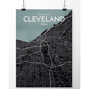 OurPoster.com 'Cleveland City Map' Graphic Art Print Poster in Midnight; 20'' H x 16'' W