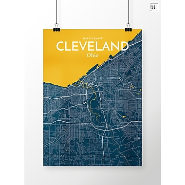 OurPoster.com 'Cleveland City Map' Graphic Art Print Poster in Amuse; 36'' H x 24'' W