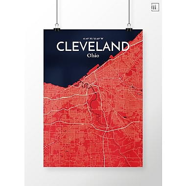 OurPoster.com 'Cleveland City Map' Graphic Art Print Poster in Nautical; 20'' H x 16'' W