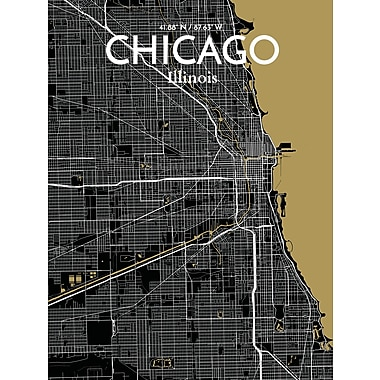OurPoster.com 'Chicago City Map' Graphic Art Print Poster in Luxe; 17'' H x 11'' W