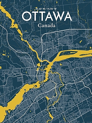 OurPoster.com 'Ottawa City Map' Graphic Art Print Poster in Amuse; 17'' H x 11'' W
