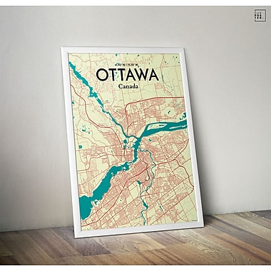 OurPoster.com 'Ottawa City Map' Graphic Art Print Poster in Tricolor; 27.56'' H x 19.69'' W