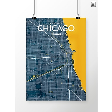 OurPoster.com 'Chicago City Map' Graphic Art Print Poster in Amuse; 24'' H x 18'' W
