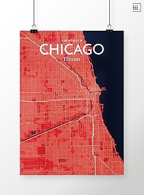 OurPoster.com 'Chicago City Map' Graphic Art Print Poster in Nautical; 17'' H x 11'' W
