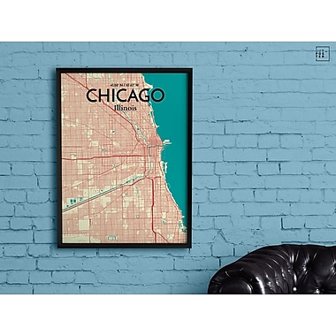 OurPoster.com 'Chicago City Map' Graphic Art Print Poster in Tricolor; 36'' H x 24'' W