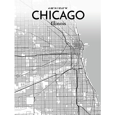 OurPoster.com 'Chicago City Map' Graphic Art Print Poster in Tones; 17'' H x 11'' W