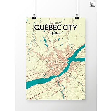 OurPoster.com 'Quebec City City Map' Graphic Art Print Poster in Green/Beige; 24'' H x 18'' W