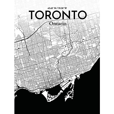 OurPoster.com 'Toronto City Map' Graphic Art Print Poster in Ink; 27.56'' H x 19.69'' W