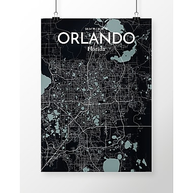 OurPoster.com 'Orlando City Map' Graphic Art Print Poster in Midnight; 24'' H x 18'' W