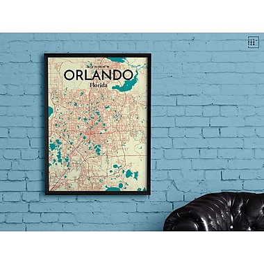 OurPoster.com 'Orlando City Map' Graphic Art Print Poster in Tricolor; 17'' H x 11'' W