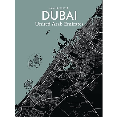 OurPoster.com 'Dubai City Map' Graphic Art Print Poster in Midnight; 24'' H x 18'' W
