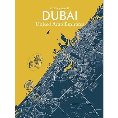 OurPoster.com 'Dubai City Map' Graphic Art Print Poster in Amuse; 27.56'' H x 19.69'' W