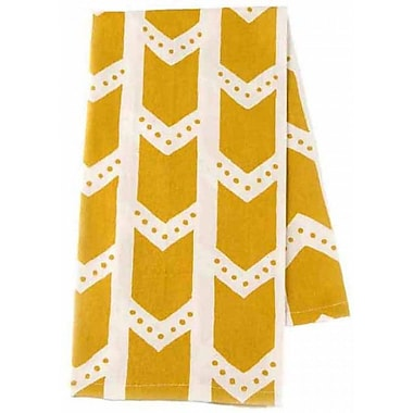 Ivy Bronx Patterned Organic Cotton Tea Towel (Set of 2); Citron