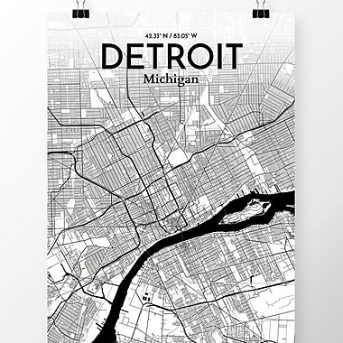OurPoster.com 'Detroit City Map' Graphic Art Print Poster in Ink; 27.56'' H x 19.69'' W