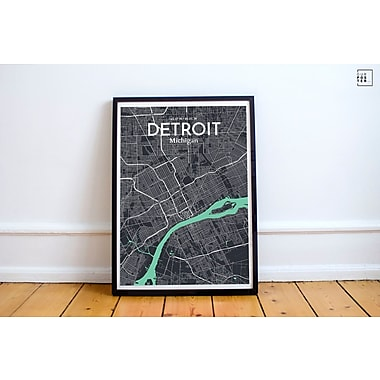 OurPoster.com 'Detroit City Map' Graphic Art Print Poster in Dream; 36'' H x 24'' W