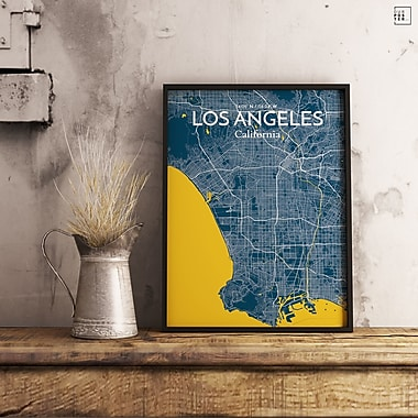 OurPoster.com 'Los Angeles City Map' Graphic Art Print Poster in Amuse; 20'' H x 16'' W