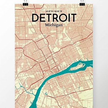 OurPoster.com 'Detroit City Map' Graphic Art Print Poster in Tricolor; 36'' H x 24'' W