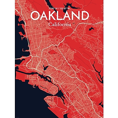 OurPoster.com 'Oakland City Map' Graphic Art Print Poster in Nautical; 24'' H x 18'' W