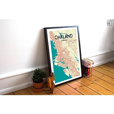 OurPoster.com 'Oakland City Map' Graphic Art Print Poster in Tricolor; 20'' H x 16'' W