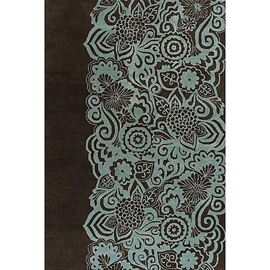 Latitude Run Steib Wool Blue/Black Area Rug; Round 7'9''