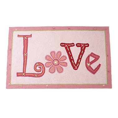 The Little Acorn Love Hand Hooked Wool Pink Area Rug
