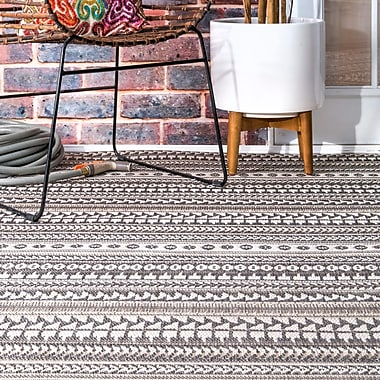 Union Rustic Acantha Gray Indoor/Outdoor Area Rug; Rectangle 6'3'' x 9'2''