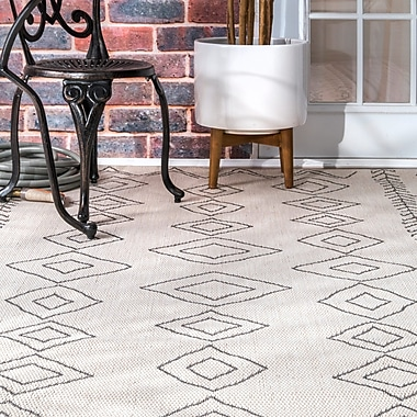Union Rustic Honora Ivory Indoor/Outdoor Area Rug; Rectangle 7'6'' x 10'9''
