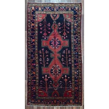 Bloomsbury Market Alayna Hamadan Semi-Antique Hand-Woven Wool Navy Area Rug